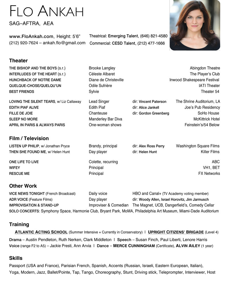 French actress resume